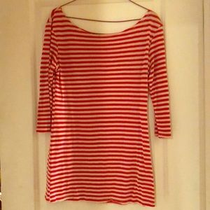 Red striped long t-shirt dress